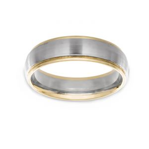 TWO by London Two Tone Satin Center Polished Edge Comfort Fit Band