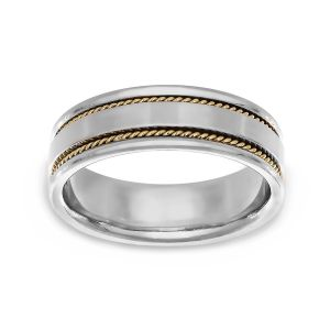 TWO by London Two Tone Satin Center Rope Insert Edge Wedding Band