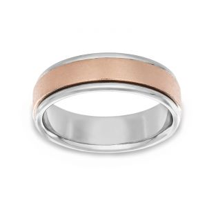 TWO by London Two Tone Foiled Center Polished Edge Wedding Band