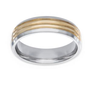 TWO by London Two Tone Raised Center Flat Polished Edge Wedding Band