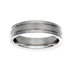 TWO by London 5.5mm Flat Center Wedding Band