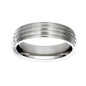 TWO by London 6mm Matte and Polished Wedding Band
