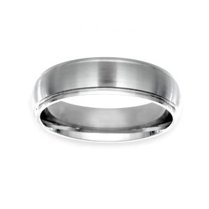 TWO by London 6mm Satin and Polished Wedding Band