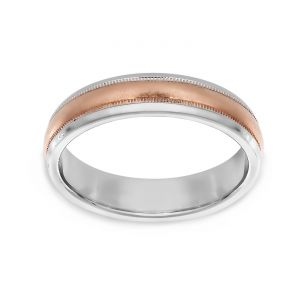 TWO by London Two Tone Foiled Milgrain Center Polished Edge Wedding Band