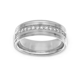 Benchmark Diamond Satin Wedding Band