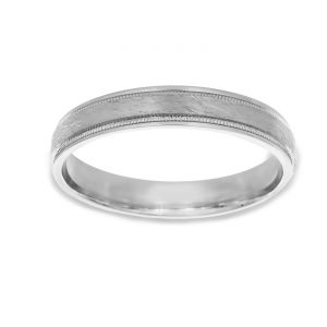 TWO by London Satin And Milgrain Wedding Band