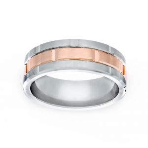 TWO by London 8mm Comfort Fit Engraved Wedding Band