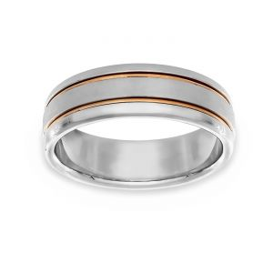 TWO by London Two Tone Satin And Polished Finish Band