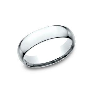 Benchmark 14k White Gold Super Light Comfort-Fit 6mm Wedding Ring
