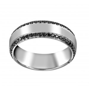 Henri Daussi Black Diamond Edge Matte Wedding Band