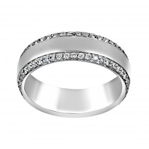 Henri Daussi Diamond Edge Matte Wedding Band