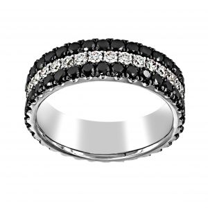 Henri Daussi Three Row Black And White Diamond Eternity Band