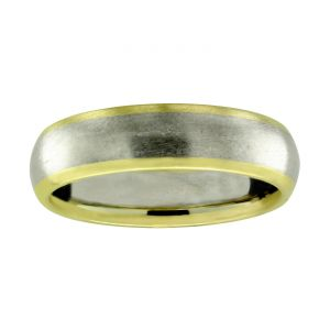 TWO by London 6mm Comfort Fit Matte And Polished Wedding Band