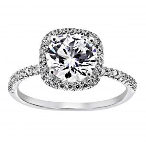 TWO by London Cushion Pave Halo Engagement Ring Setting