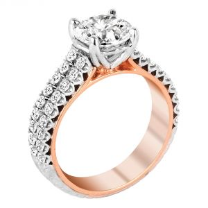 Jack Kelege Imperial Silhouette 18k Two Tone Round Diamond Engagement Ring