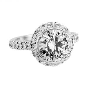 Jack Kelege Imperial Silhouette Platinum Round Halo Diamond Engagement Ring