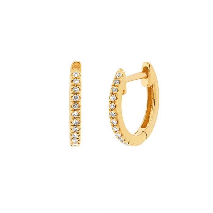 Two By London 14k Gold Diamond Huggie Hoop Earrings