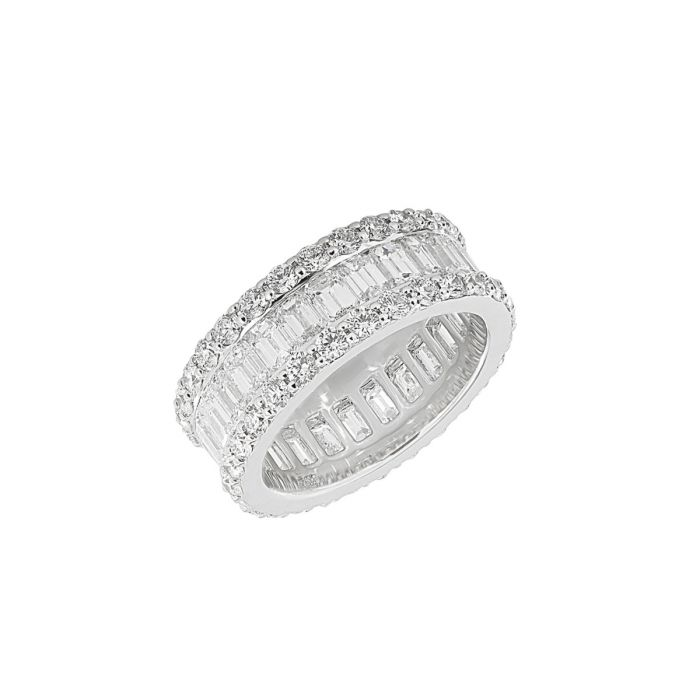 10a5e25545bf7 TWO by London 18k White Gold Round and Baguette Diamond 3 Row Band