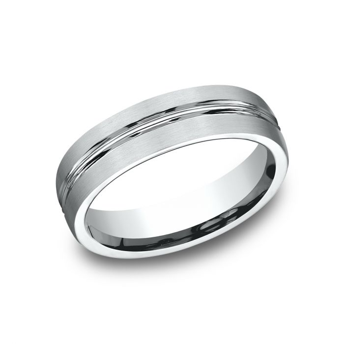 White Gold Wedding Band.Benchmark 6mm 14k Sculpted Design White Gold Wedding Band