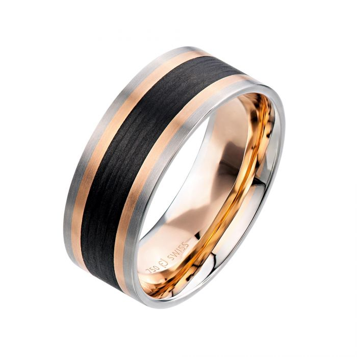 Two By London Furrer Jacot 18k White Gold And Rose Gold Two Tone Carbon Fiber Wedding Band London Jewelers Bridal Boutique