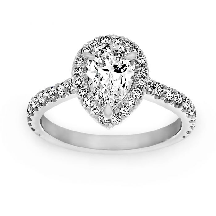 Two By London Two By London Pear Shaped Diamond Halo Engagement Ring London Jewelers Bridal Boutique