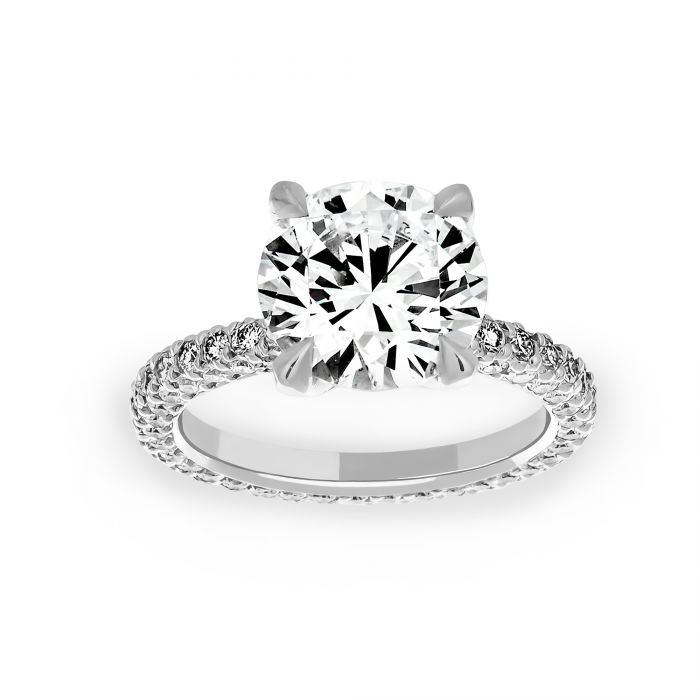 Two By London Michael B Three Sided Pave Round Solitaire Engagement Ring London Jewelers Bridal Boutique