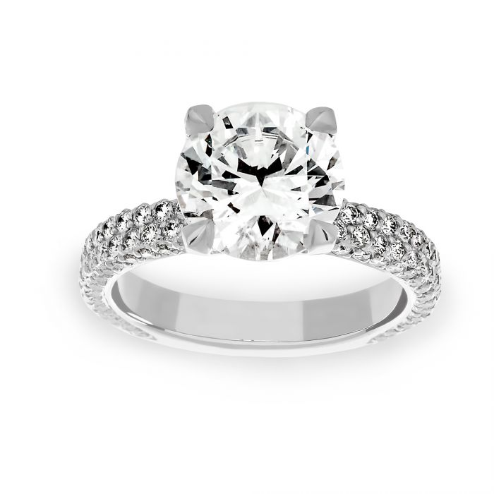 Two By London Michael B Two Row Flatband Pave Diamond Solitaire Engagement Ring London Jewelers Bridal Boutique