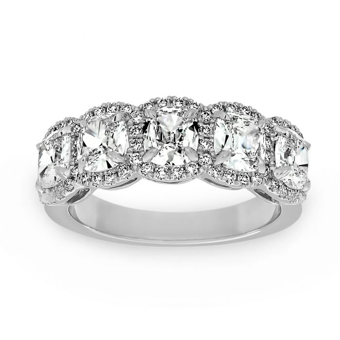 Two By London Henri Daussi Five Stone Cushion Diamond Halo Wedding Band London Jewelers Bridal Boutique