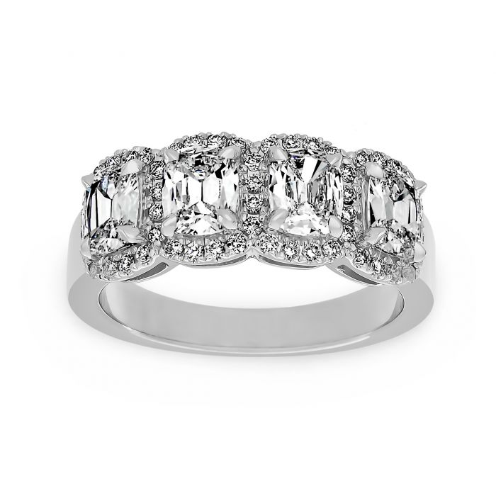 Two By London Henri Daussi Four Stone Cushion Diamond Halo Wedding Band London Jewelers Bridal Boutique