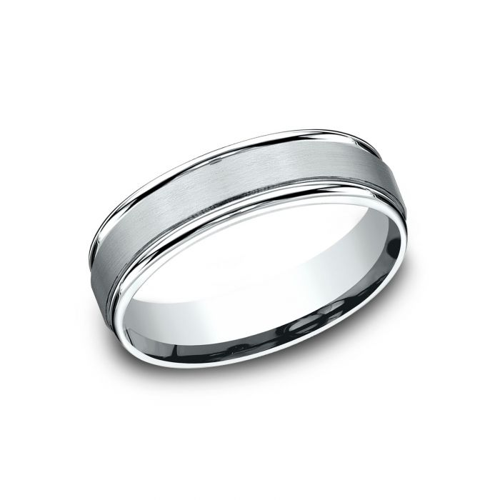 Two By London Benchmark 18k White Gold 6mm Sculpted Design Satin